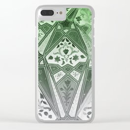 Indian wall Painting Mosaic Flowers - green Clear iPhone Case