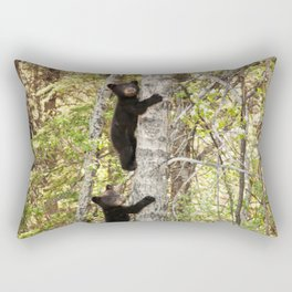 Baby Bears in a Tree Photography Print Rectangular Pillow