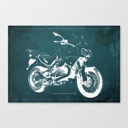 2010 Moto Guzzi Stelvio 1200 4V blue blueprint Canvas Print