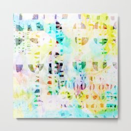 Abstract Puzzle Geos,Watercolor Geometric Painting in Colorful Pastel Metal Print