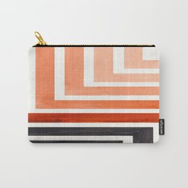 Burnt Sienna Mid Century Modern Watercolor Colorful Ancient Aztec Art Pattern Minimalist Geometric P Carry-All Pouch