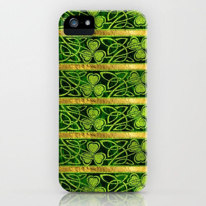 Irish Shamrock -Clover Gold and Green pattern iPhone Case