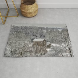 Winter Snow scene country house Rug