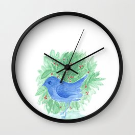 Blue bird and shrub watercolor painting Wall Clock