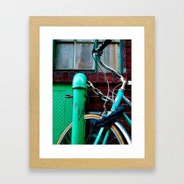 GREEN BICYCLE Framed Art Print