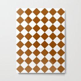 Large Diamonds - White and Brown Metal Print