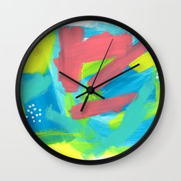 BE BRAVE, BE OK blue abstract painting mint green drawing modern art acrylic summer ocean Wall Clock
