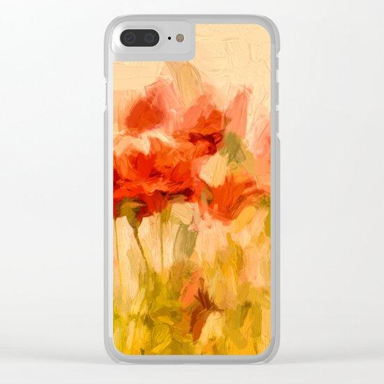 Fiery poppies in a golden cornfield Clear iPhone Case
