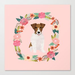 jack russell terrier floral wreath dog breed pet portrait pure breed dog lovers Canvas Print