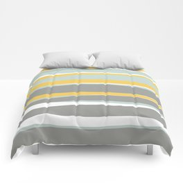 Stripe Abstract, Sun and Beach, Yellow, Pale, Aqua Blue and Gray Comforters