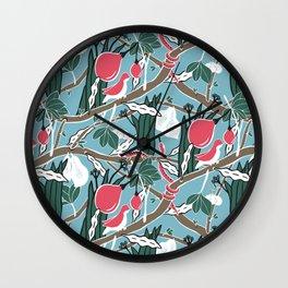 Hiding Birds Pink Wall Clock