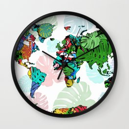 world map tropical leaves 2 Wall Clock