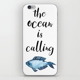 The ocean is calling / blue fish watercolor iPhone Skin