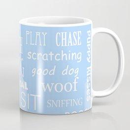 Modern pastel blue white dog typography pattern Coffee Mug