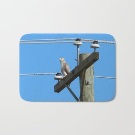 Red Tailed Hawk on Telephone Pole 1 Bath Mat