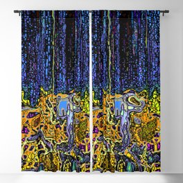 Navy With Orange Multi Colored Tangled Roots Blackout Curtain
