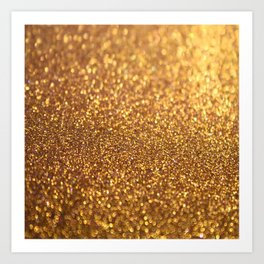 Golden Glitter Shiny Art Print