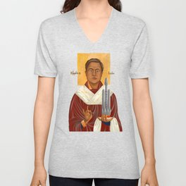 Holy Prophet Elon Musk isolated Unisex V-Neck