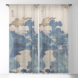 Cottages On Cliffs Traditional Japanese Landscape Sheer Curtain
