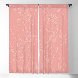 Monstera No2 Pink Blackout Curtain