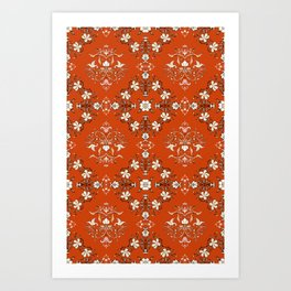 Vintage Floral - Rust Orange Art Print