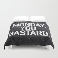 xbox Duvet Covers featuring Monday You Bastard by Text Guy