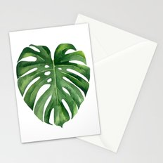 Tropical green leaf. Stationery Cards