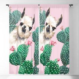Llama and Cactus Pink Blackout Curtain