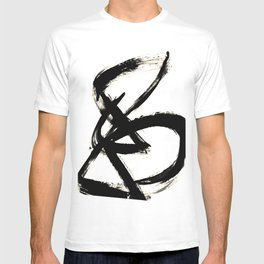 Brushstroke 3 - a simple black and white ink design T-shirt