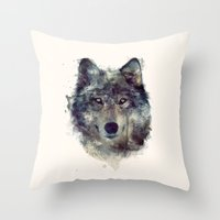 watercolour Throw Pillows featuring Wolf // Persevere  by Amy Hamilton