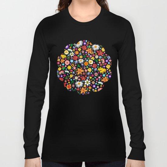 Spring Flowers Pattern Long Sleeve T-shirt