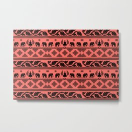 ethnic pattern on living coral background Metal Print