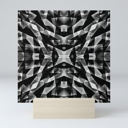 Exclusive mosaic pattern of chaotic black and white fragments of glass, metal and ice floes. Mini Art Print