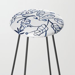 Tropical Plant Boho Chinoiserie Blue and White Counter Stool
