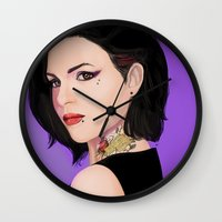 regina mills Wall Clocks featuring Fierce Regina Mills. by tantoun