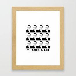 T Hanks a lot thank you card Framed Art Print