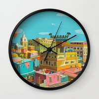 hemingway Wall Clocks featuring Habana by Zsolt Vidak