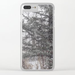 Soft snow falling Clear iPhone Case