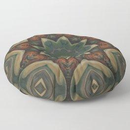 Papaya // Rustic Plant Botanical Abstract Green Botanical Circle Pattern Floor Pillow