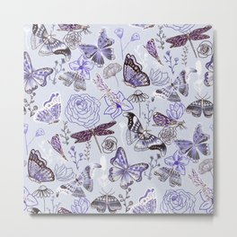 Dragonflies, Butterflies and Moths With Plants on Pale Blue Metal Print