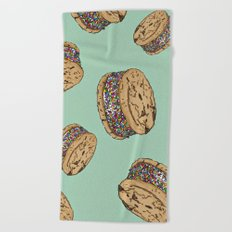THERE'S ALWAYS TIME FOR AN ICE CREAM SANDWICH WITH CHOCOLATE CHIPS AND FUNFETTIS! - MINT Beach Towel