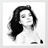 bjork Art Prints featuring Bjork by AnastasiumArt