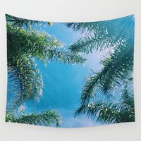 palm trees Wall Tapestries featuring PALM TREES by C O R N E L L