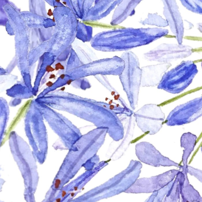 blue purple African lily watercolor painting Leggings