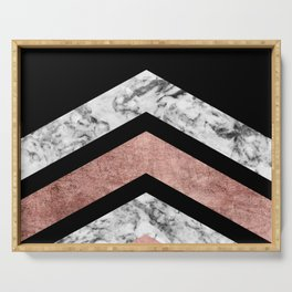 Modern rose gold black white geometric marble Serving Tray