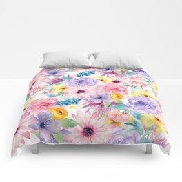 Modern elegant pink lavender yellow watercolor floral Comforters