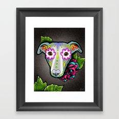 Day of the Dead Whippet - Greyhound Sugar Skull Dog Framed Art Print