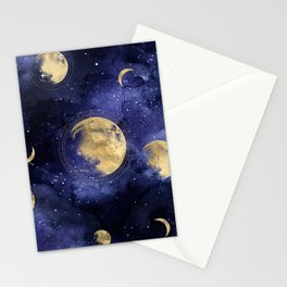 moon and galaxy pattern  Stationery Cards