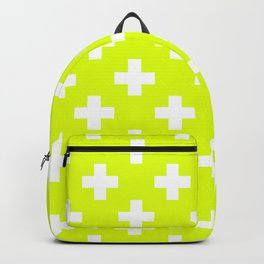 Chartreuse Plus Sign Pattern Backpack