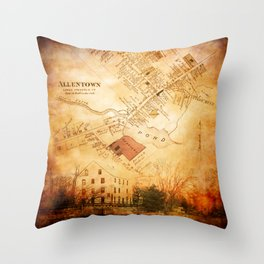 Allentown, New Jersey Map and Mill by Ericka O'Rourke Throw Pillow
